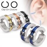 Falso-piercing oreja 46 - Clip PVD y zircona (los dos)