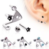 piercing oreja original 16 - tres strass estrella
