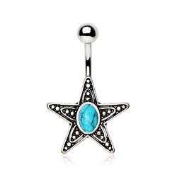 Piercing ombligo estrella 11 - turquesa vendimia
