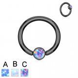 Piercing micro-bcr 139 - Black strass plato opale