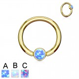 Piercing micro-bcr 140 - Gold-ip strass plato opale