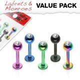 Pack de labrets 3 - PVD Bola con cristal