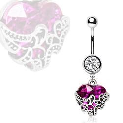 Piercing ombligo corazón 22 - lujo lilas