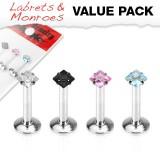 Pack de micro-labrets 16 - cristales cuadradas