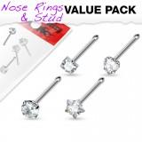 Pack de piercings nez 0.8mm 18 - Droits zirconas transparentes