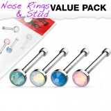 Pack de piercings nez 0.8mm 19 - Droits opalite