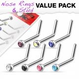 Pack de piercings nez 1mm 03 - curvas A strass