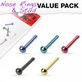 Pack de piercings nez 1mm 11 - Droits PVD cúpulas