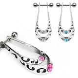 Piercing helix 37 - Boulier Doble tribale strass