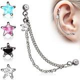 cadena de oreja 18 - estrella
