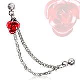 cadena de oreja 21 - rosa rojo