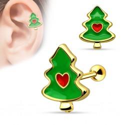 Piercing helix, tragus chapado-oro Arbol de navidad (5)