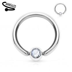 Piercing anillo 1,6mm 15 - borde adjunto strass transparente