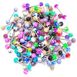 Lote de 200 piercings lengua acrílicos