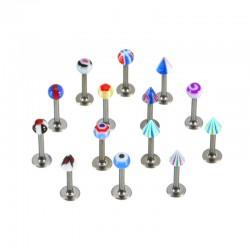 Lote de 100 piercings micro-labrets acrílicos