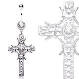 Piercing ombligo cruz 20 - medieval grise