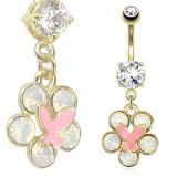 Piercing ombligo chapado-oro 75 - Flor mariposa rosa