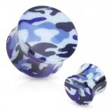 Plug acrílico curva camuflaje azul