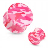 Plug acrílico curva camuflaje rosa