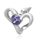 Falso-expender acero 135 - corazón zircona púrpura