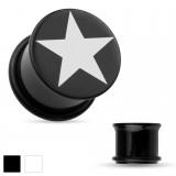Plug acrílico estrella o-ring negro ou blanco