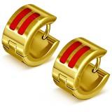 Anillos de oreja acero 117 - Gold ip dos características rojos