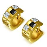 Anillos de oreja acero 134 - Gold ip tres zirconas