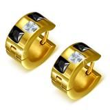 Anillos de oreja acero 135 - Gold ip tres zirconas