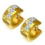 Anillos de oreja acero 136 - Gold ip tres zirconas
