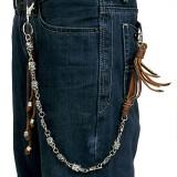 Cadena de jean gótico 06 - cuero marrón con correas