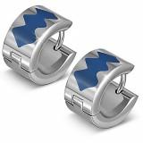 Anillos de oreja acero 154 - motivo azul