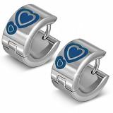 Anillos de oreja acero 170 - corazóns azuls