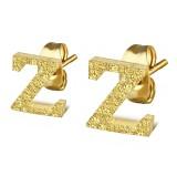 Stud de oreja en acero letra gold ip Z