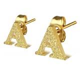 Stud de oreja en acero letra gold ip A