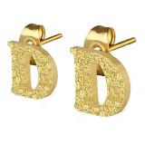 Stud de oreja en acero letra gold ip D