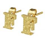 Stud de oreja en acero letra gold ip F