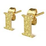 Stud de oreja en acero letra gold ip I