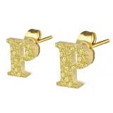 Stud de oreja en acero letra gold ip P