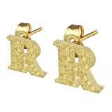 Stud de oreja en acero letra gold ip R