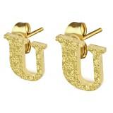 Stud de oreja en acero letra gold ip U
