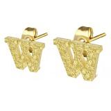 Stud de oreja en acero letra gold ip W