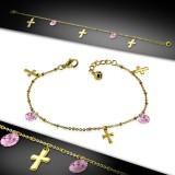 Cadena de tobillo 31 - Gold-IP círculos rosas y cruz