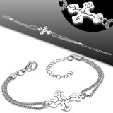 Cadena de tobillo 74 - Doble cadena cruz medieval
