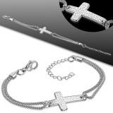 Cadena de tobillo 73 - Doble cadena grande cruz