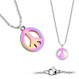 Collier en acero 12 - Peace and love PVD rainbow