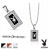 Collier Playboy 04 - rectangular con strass