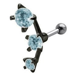Piercing helix 29 - tres strass negros