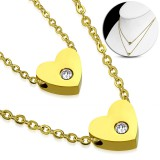 Collier en acero 20 - Doble corazón zircona gold-ip
