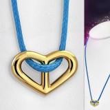 Collier en acero 23 - corazón gold ip Cordón azul