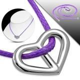 Collier en acero 24 - corazón Cordón lilas